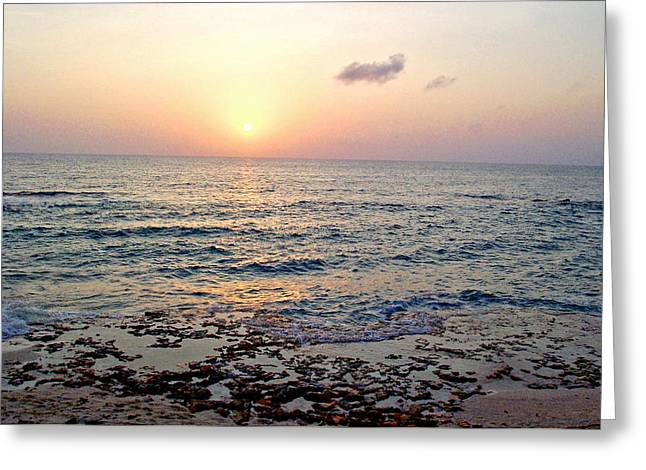 Greeting Card featuring the photograph Pink And Purple Sunset Over Grand Cayman by Amy McDaniel
