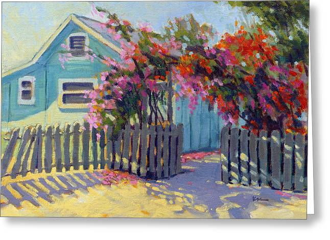 Greeting Card featuring the painting Pink And Red by Konnie Kim