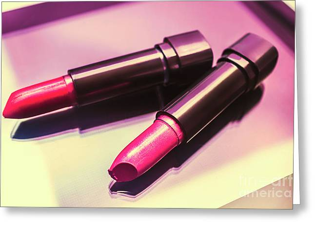 Pink And Rouge Lipsticks On Table Greeting Card by Jorgo Photography - Wall Art Gallery