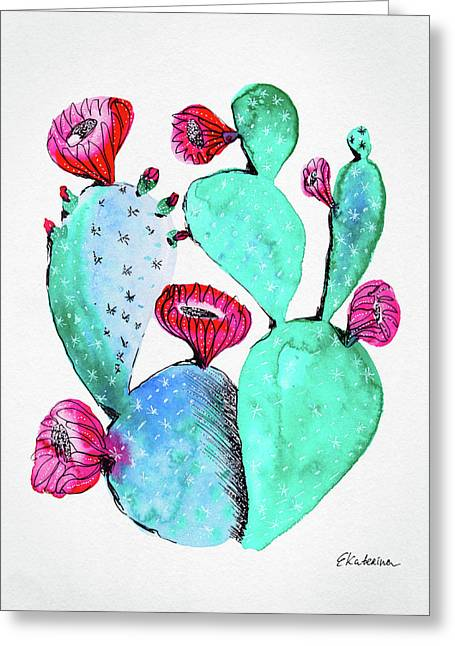 Pink And Teal Cactus Greeting Card