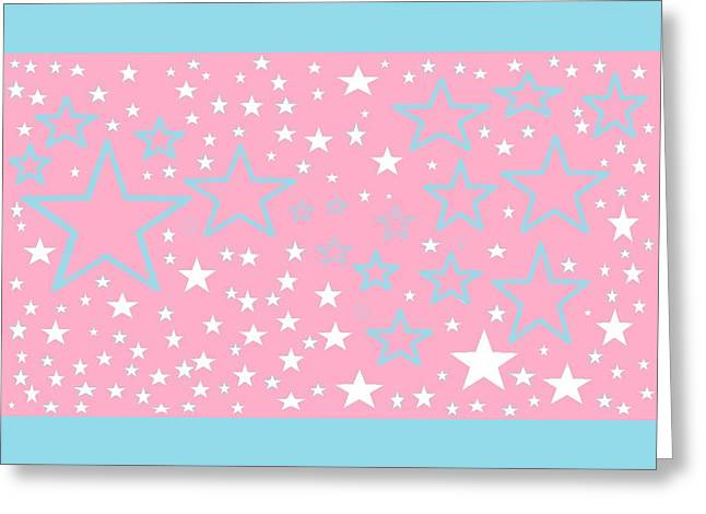Pink And Turquoise Stars 1 Greeting Card