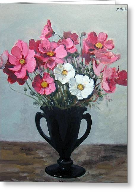 Pink And White Cosmos In Black Glass Vase Greeting Card