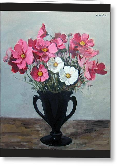 Pink And White Cosmos In Black Milk Glass Vase Greeting Card