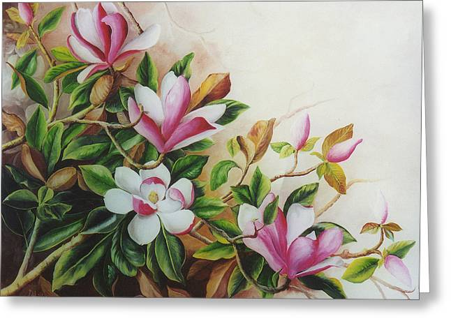 Pink And White Magnolias Greeting Card