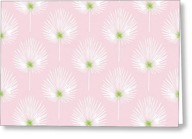 Pink And White Palm Leaves- Art By Linda Woods Greeting Card by Linda Woods