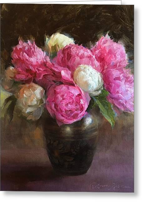 Pink And White Peonies Greeting Card
