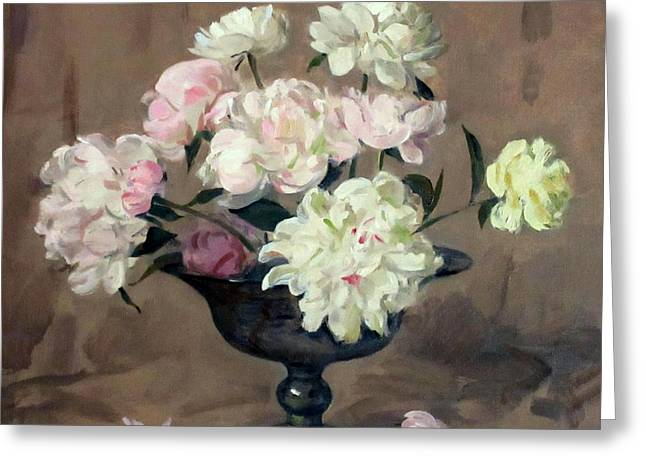 Pink And White Peonies In Footed Silver Bowl Greeting Card
