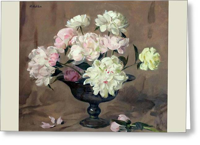 Pink And White Peonies In Silver Pedestal Bowl Greeting Card