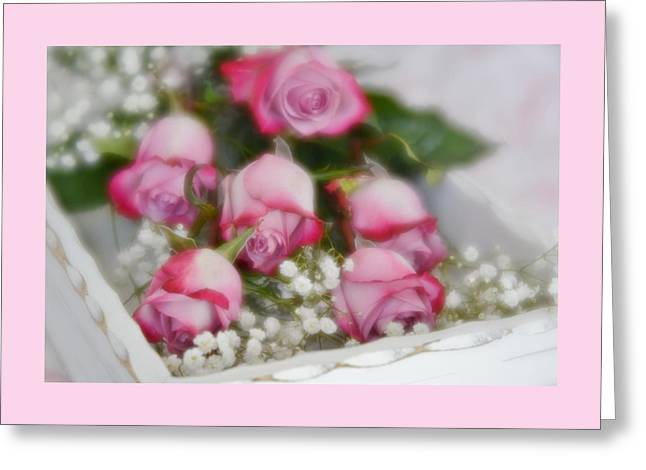 Greeting Card featuring the photograph Pink And White Roses In White Box 2 by Diane Alexander