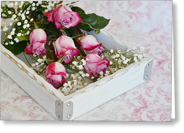 Pink And White Roses In White Box Greeting Card