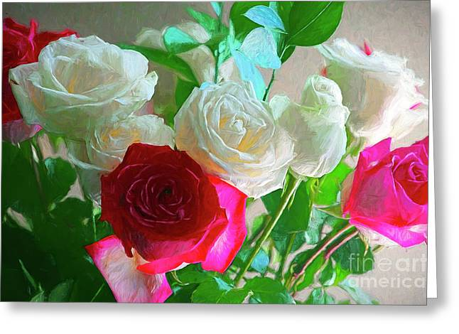Pink And White Roses Photo Art 2 Greeting Card by Sharon Talson