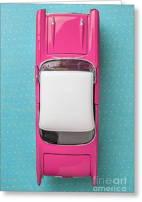 Pink And White Toy Car From Above Greeting Card by Edward Fielding