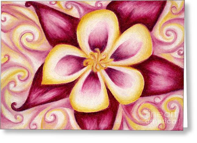 Pink And Yellow Columbine Flower Drawing Greeting Card