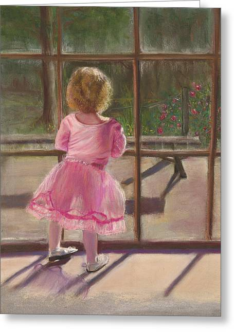 Pink Ballerina Greeting Card by Kathy Wood
