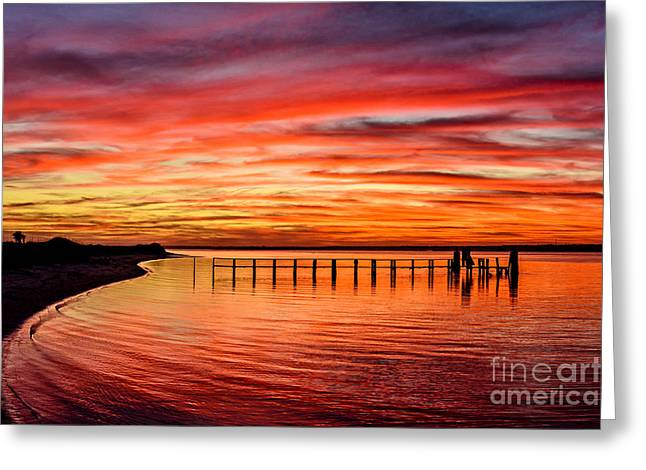 Greeting Card featuring the photograph Pink Bay by DJA Images
