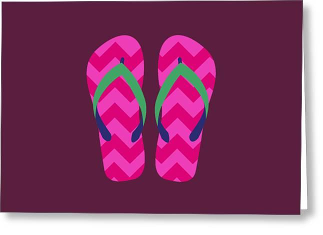 Greeting Card featuring the digital art Pink Beach Sandals by Jennifer Hotai