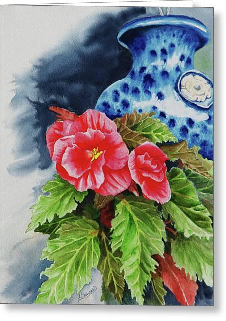 Pink Begonias Greeting Card by Lori Seward