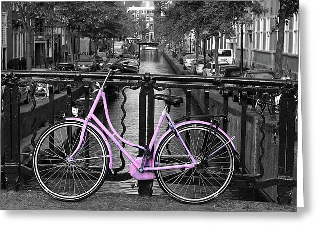 Pink Bicycle By The Canal Greeting Card by Aidan Moran