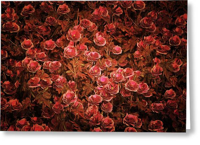 Greeting Card featuring the painting Pink Bionica Roses by Jan Keteleer