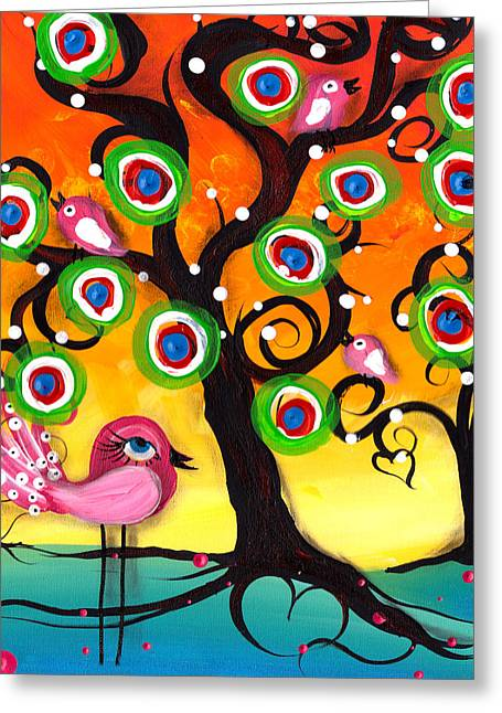 Pink Birds On A Tree Greeting Card by  Abril Andrade Griffith