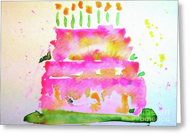 Greeting Card featuring the painting Pink Birthday Cake by Claire Bull
