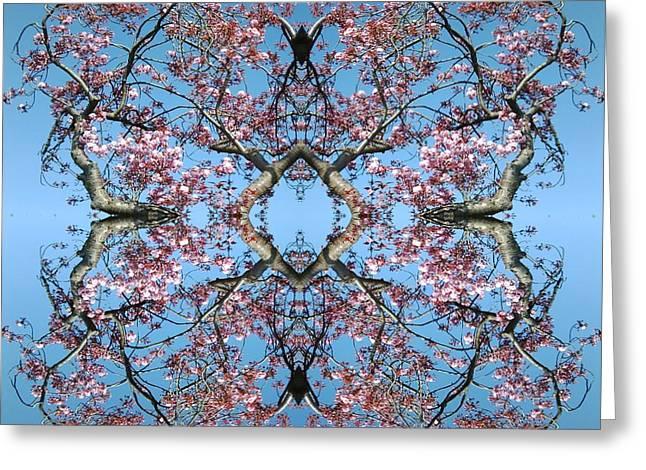 Pink Blossom Mandala Greeting Card