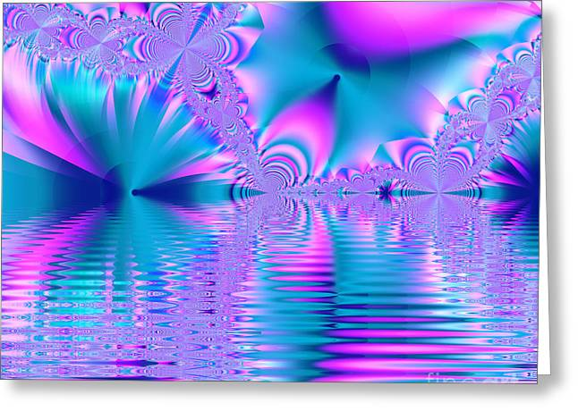 Pink, Blue And Turquoise Fractal Lake Greeting Card