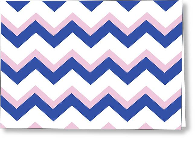Pink Blue Chevron Pattern Greeting Card