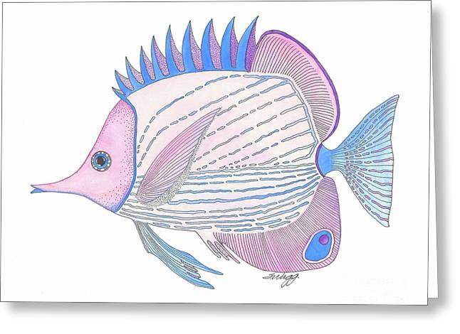 Pink Blue Fish Greeting Card