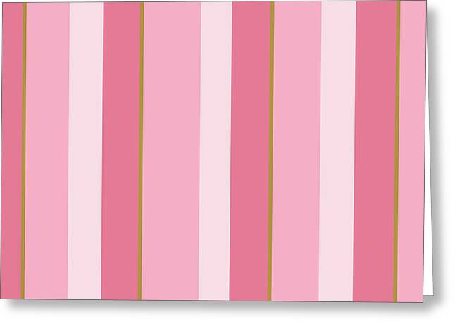 Greeting Card featuring the mixed media Pink Blush Stripe Pattern by Christina Rollo