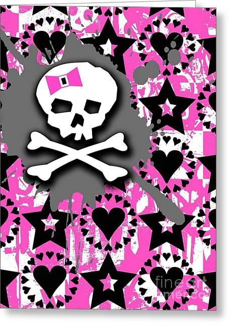 Pink Bow Skull Greeting Card by Roseanne Jones