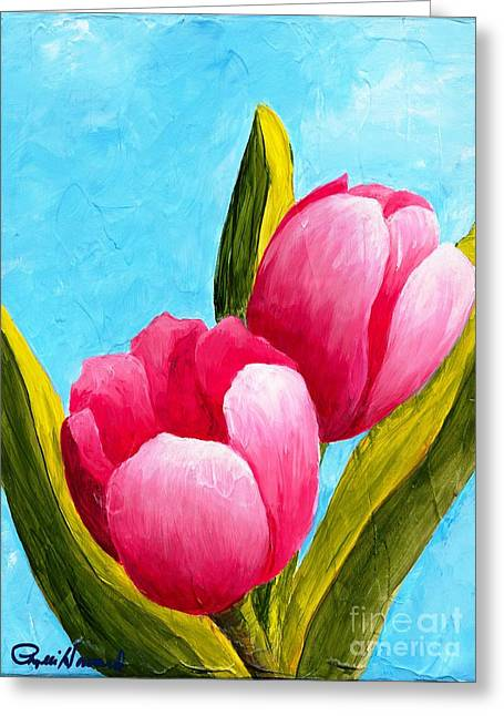 Pink Bubblegum Tulips I Greeting Card