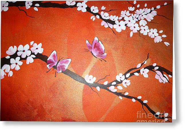 Pink Butterflies And Cherry Blossom Greeting Card