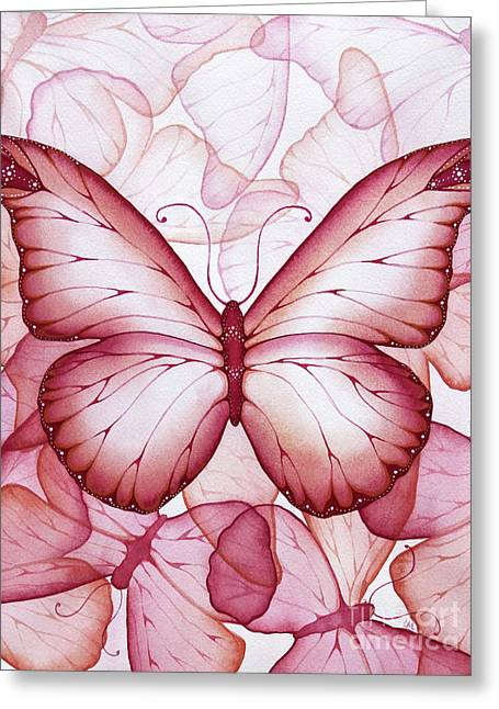 Pink Butterflies Greeting Card by Christina Meeusen