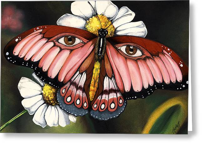 Pink Butterfly Greeting Card by Anthony Burks Sr