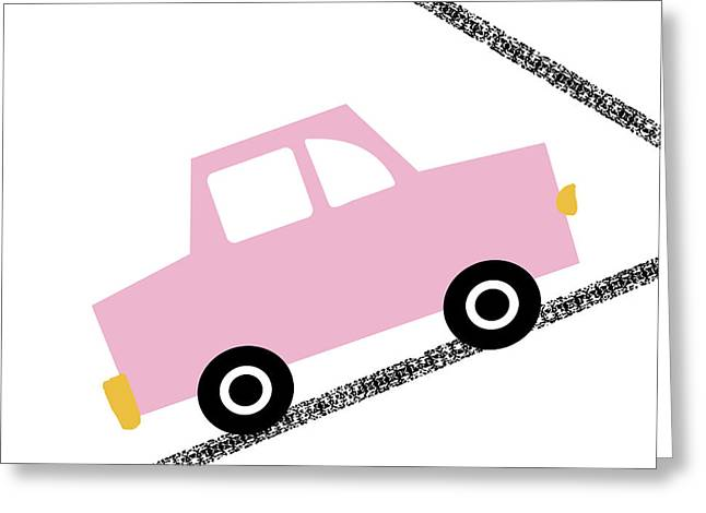 Pink Car On Road- Art By Linda Woods Greeting Card