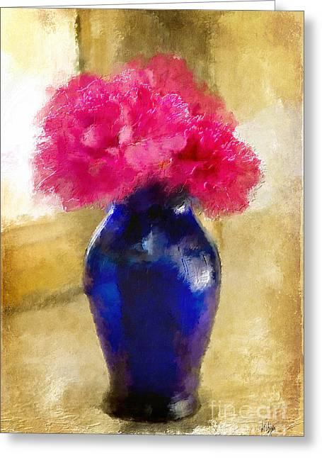 Pink Carnations In Cobalt Blue Vase Greeting Card
