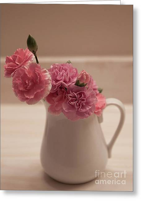 Pink Carnations Greeting Card by Sherry Hallemeier
