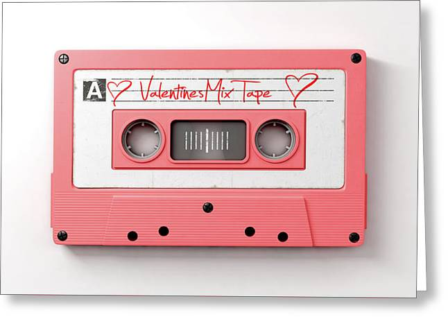 Pink Cassette Mix Tape Greeting Card by Allan Swart