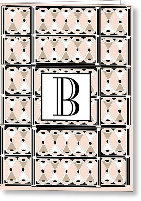 Pink Champagne Deco Monogram  B Greeting Card by Cecely Bloom