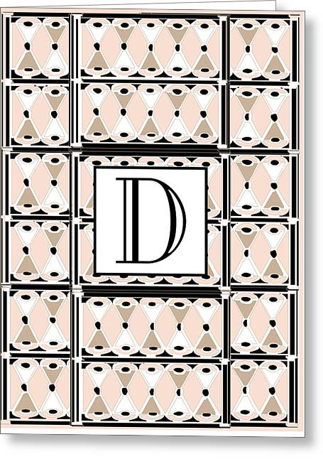 Pink Champagne Deco Monogram  D Greeting Card by Cecely Bloom