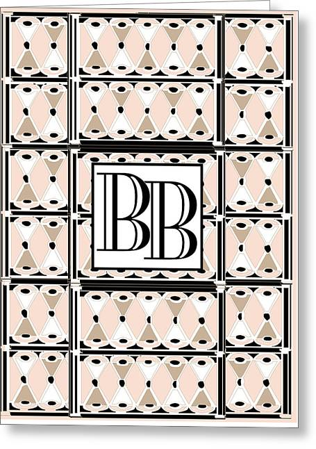 Pink Champagne Deco  Monogram Double Initials Bb Greeting Card