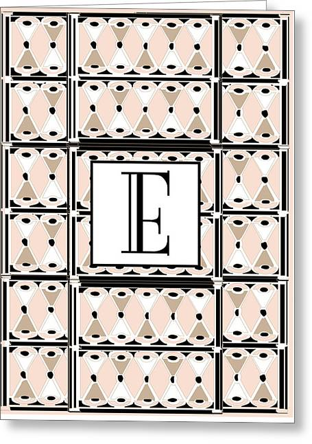 Pink Champagne Deco Monogram  E Greeting Card by Cecely Bloom