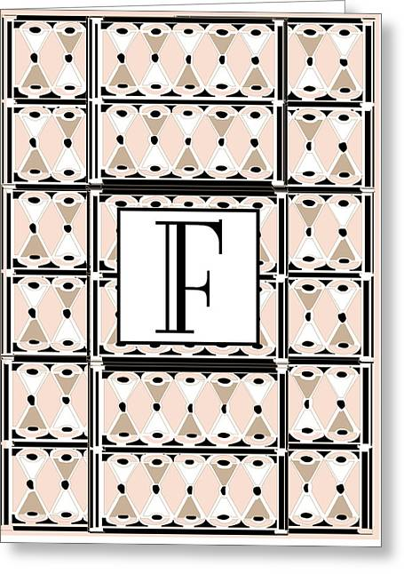 Pink Champagne Deco Monogram  F Greeting Card by Cecely Bloom
