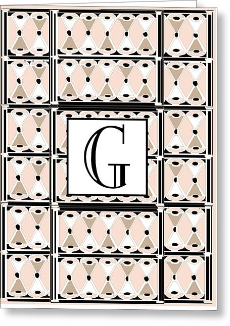 Pink Champagne Deco Monogram  G Greeting Card by Cecely Bloom