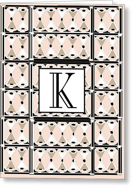 Pink Champagne Deco Monogram  K Greeting Card by Cecely Bloom
