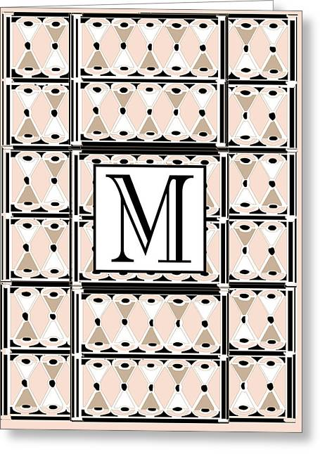 Pink Champagne Deco Monogram  M Greeting Card by Cecely Bloom