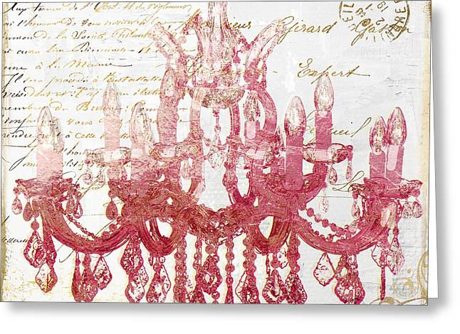Pink Chandelier Greeting Card by Mindy Sommers