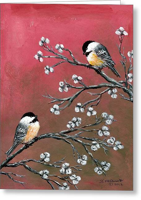 Pink Chickadees Greeting Card by Kathleen McDermott