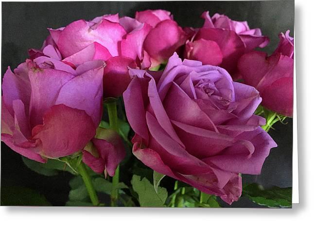 Pink Chiffon Greeting Card by Sarah Vernon